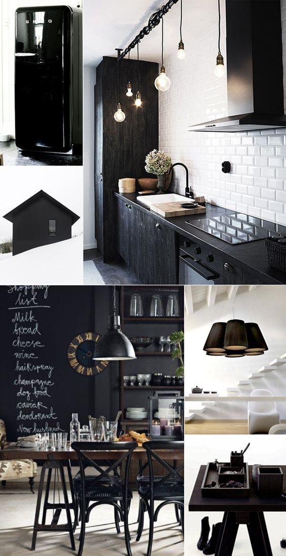 inredning hem svart vitt dekorera inreda inspiration tips ide kök griffelfärg heminredning hus