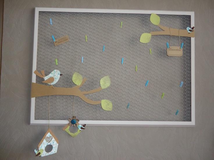 Cadre mémo réalisé avec un encadrement bois de chez Ikea