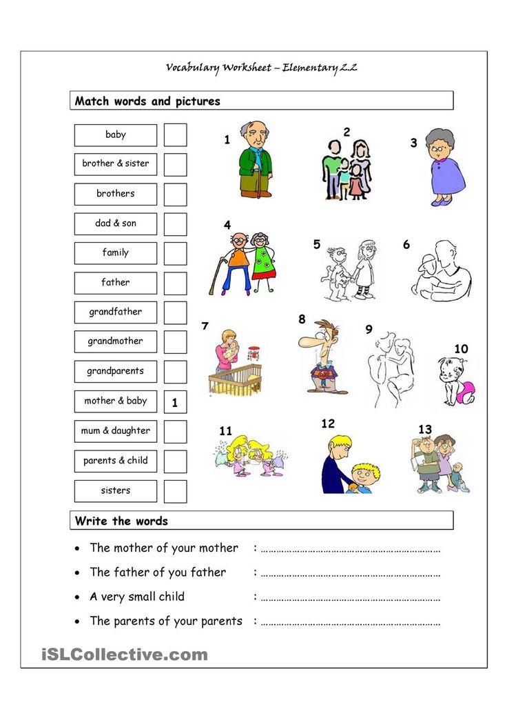 Vocabulary Matching Worksheet - Elementary 2.2 (Family)
