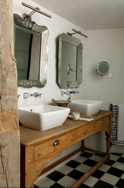 bathroom table vanities - country style console in rustic bath - Isabel Lopez-Quesada