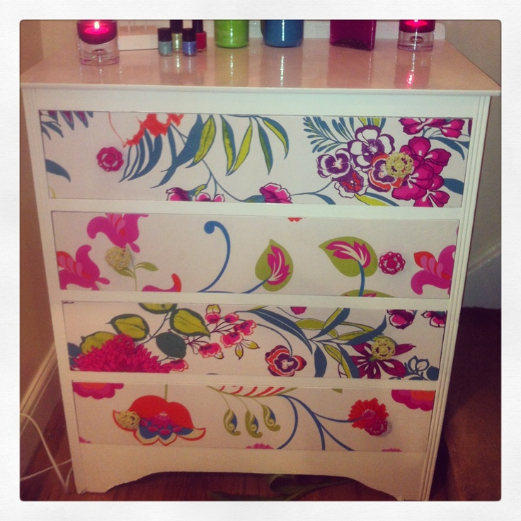 Beautiful Chest Of Drawers Painted Amp Floral Wallpaper