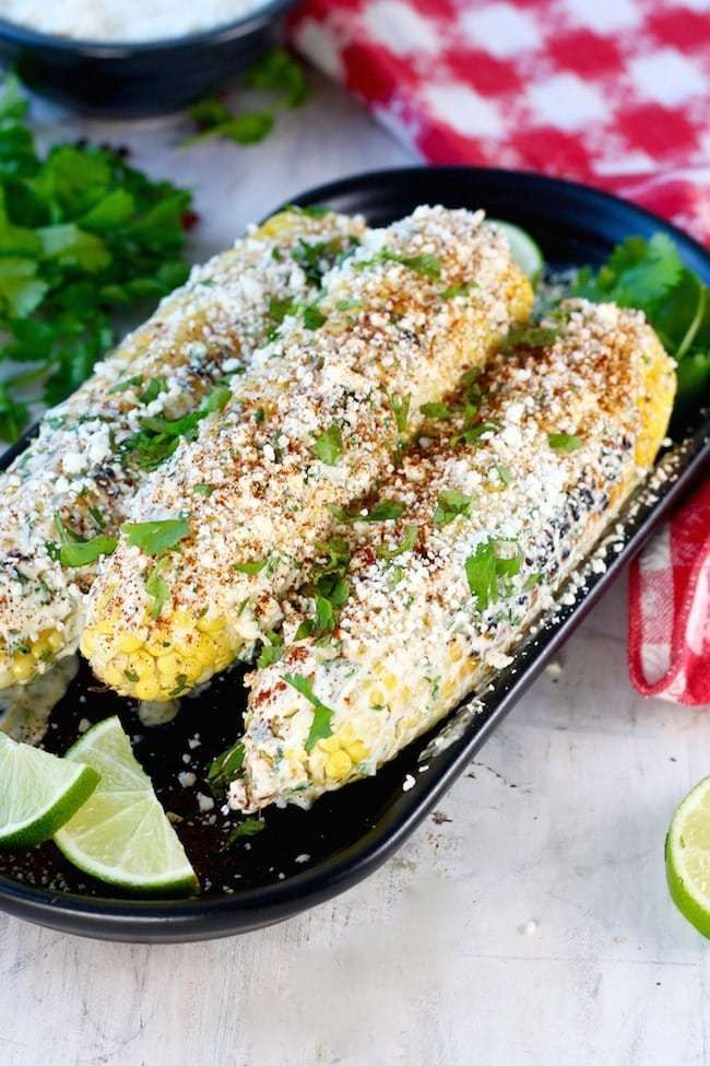 Easy Recipe For Grilled Mexican Street Corn With A Delicious Coating Of Cotija Cheese Mayo And Sour Mexican Street Corn Mexican Street Corn Recipe Street Corn