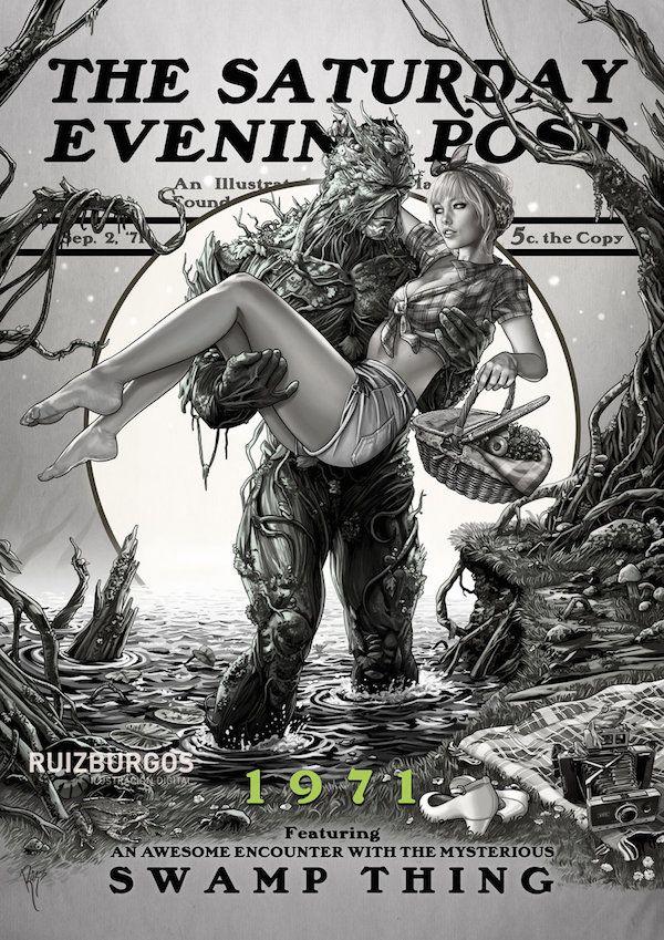 Juan Carlos Ruiz - DC Comics Characters & The Saturday Evening Post series - The Swamp Thing