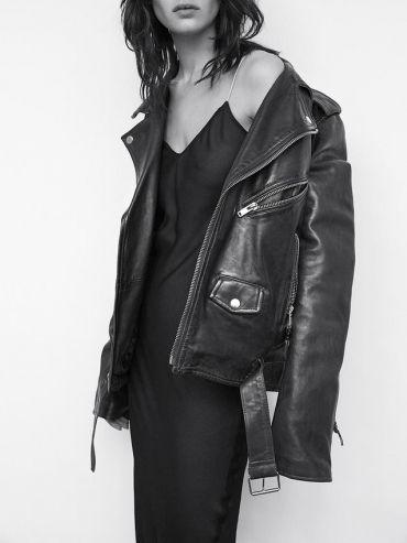 black slip, leather biker. #tonybianco #streetstyle