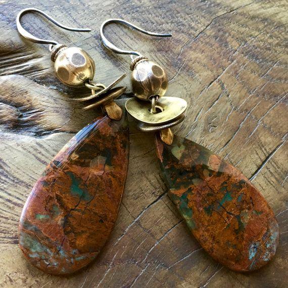 Rustic teardrop earrings red rust opal antique by lecoupdegrace