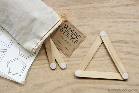 LOVE these!  Shape sticks with printable shapes to make.  Just need craft sticks with velcro. Stocking stuffer?