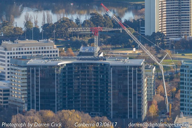 Cranes in Civic, changing the skyline of #Canberra, taken from Mout Ainslie 03/06/17. #cbr #crane #civic