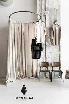 round dressing room curtains