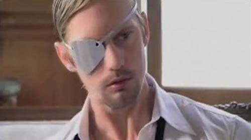 "Alexander Skarsgard.  One eye.  From Lady Gaga's ""Paparazzi"" video."