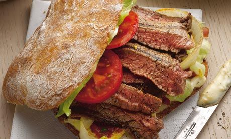 Yotam Ottolenghi: Steak sandwich on crusty roll with mustard mayo and chili and cilantro jam