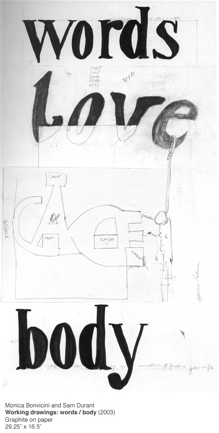 working drawings: words / body, 2003 • monica bonvicini and sam durant