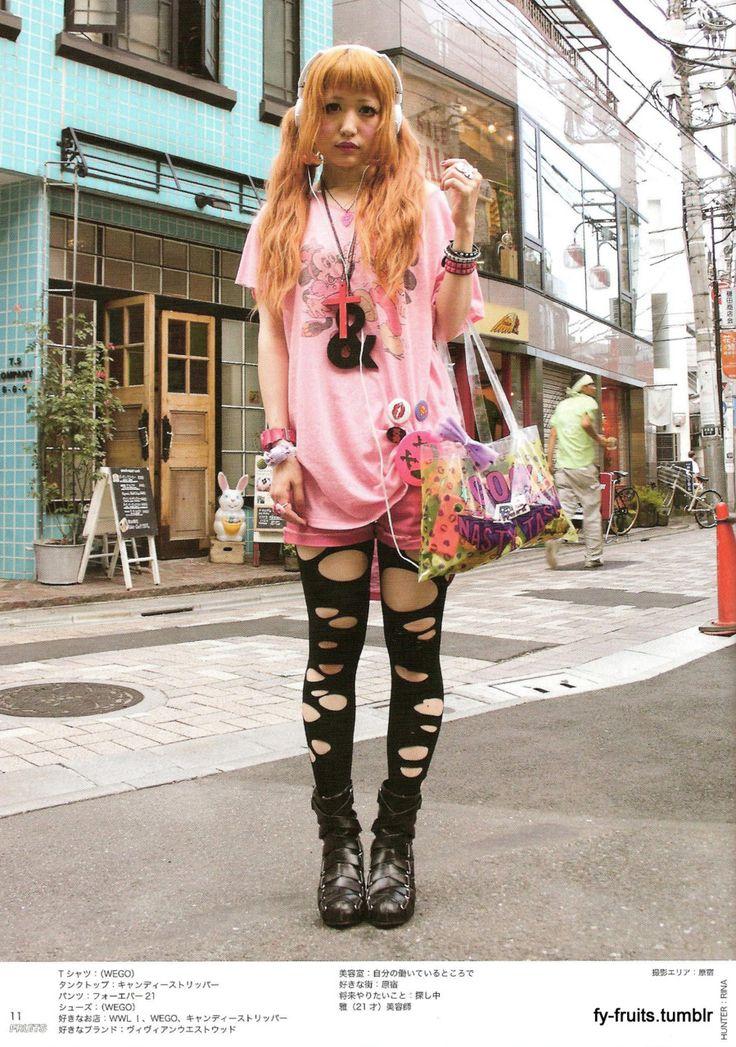 Harajuku Gal W Rainbow Eye Makeup Silver Hair In Anap: Fruits Magazine - Street Fashion Japan