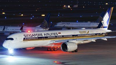Singapore Airlines (SG) Airbus A350-941 9V-SMF aircraft, painted in ''10.000th Airbus Aircraft'' special colours, ready to taxi for the flight at USA Texas Houston George Bush Intercontinental Aiirport. 18/02/2017.