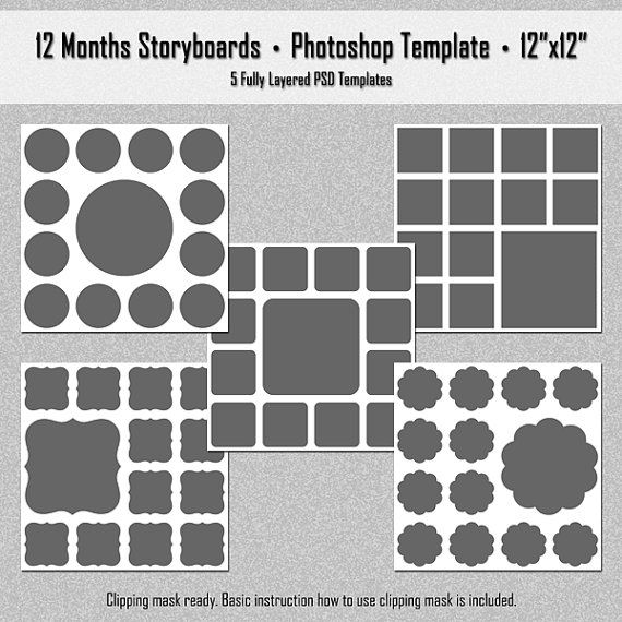 12 Months Photo Storyboard Templates - Instant Download - Digital - digital storyboard templates