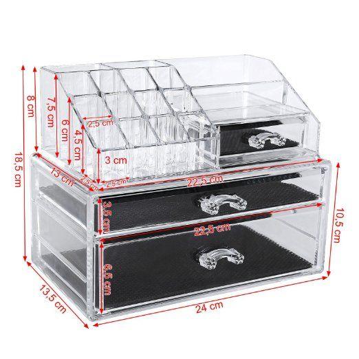 Songmics Cosmetic Organizer Scatola Organizzatore Make up Acrilico Immagazzinaggio Box JKA004: Amazon.it: Casa e cucina