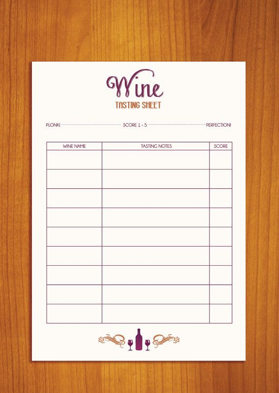 Wine Party Tasting Sheet  PDF Digital Download by LuckyLabStudios, $7.50