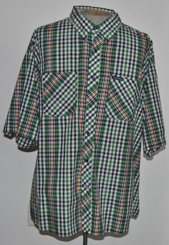 Rocawear Mens Size 4xlb Green Plaid Button Down Collar 100