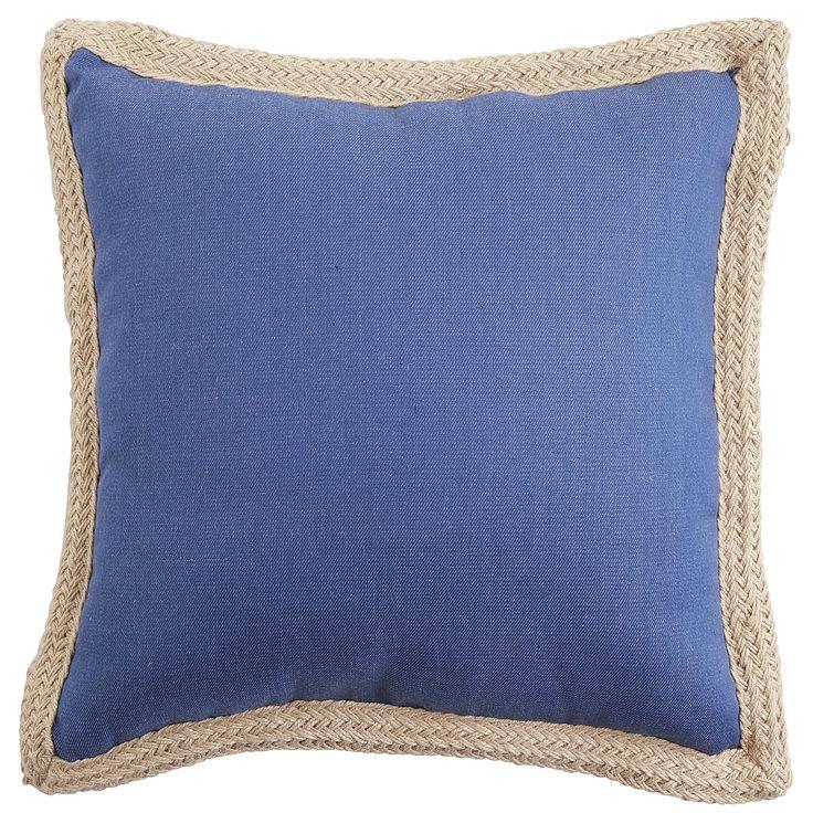 Serge Jute Trim Outdoor Pillow - Denim Blue - Cushion