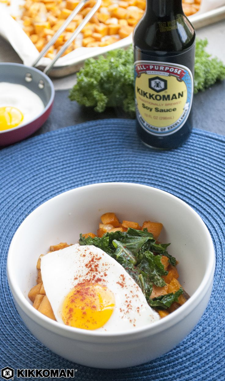 Sweet Potato + Kale Breakfast Bowl   A hearty breakfast is the smartest way to start the day. This breakfast bowl combines nutritious kale with cubes of sweet potato and runny fried eggs, all seasoned with Kikkoman®️ Soy Sauce and ground paprika. Prep the potatoes and chop the kale ahead of time for an easy-to-assemble breakfast every morning.   Check out KikkomanUSA.com to discover more simple family recipes for brunch, lunch, dinner, and dessert.