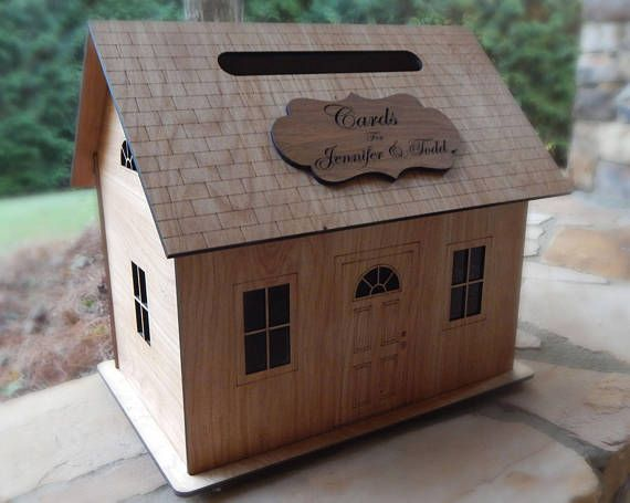 Wedding Card Box, House, Card Holder, Wood, With Slot, Lock, Personalized, Unique, Gift Card Holder,