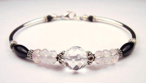 Chakra Bracelet: Healing Heart Rose Quartz, Crystal, and Onyx Silver Gemstone Bracelets Gemstone Gifts Handmade Jewelry. $79.95