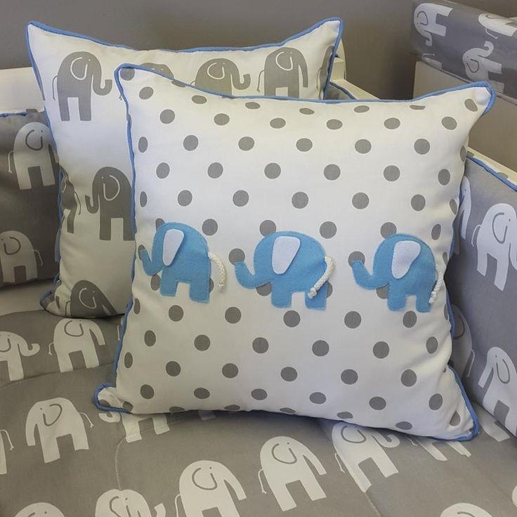 A great combination of #Aqua and #Grey for any #BabyBoy's #ElephantTheme nursery!   #BabyBedding #BabyLinen