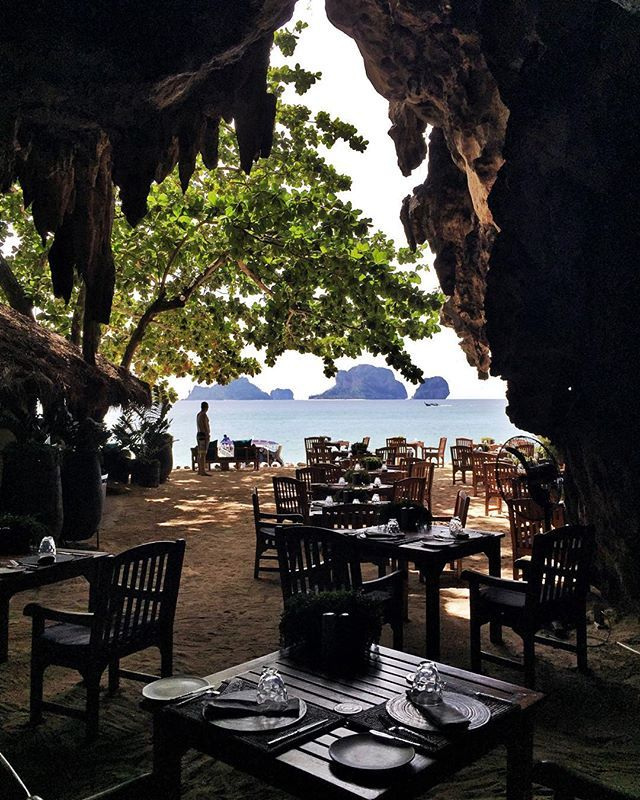 The Grotto Restaurant in Rayavadee Hotel in Krabi Thailand