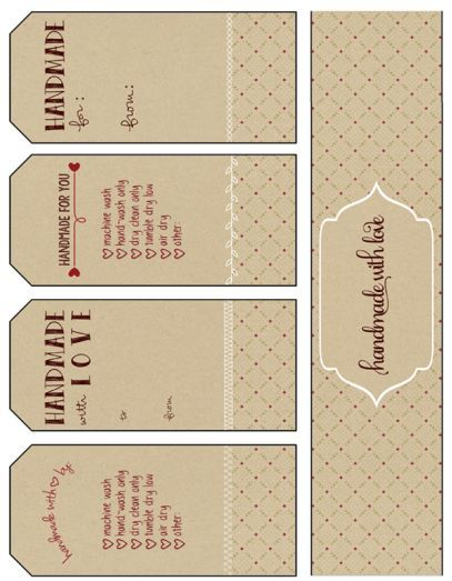 free printable gift tags, handmade with love