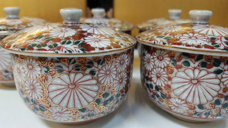 Beautiful Japanese Set 5 pcs teacup w/ lid Kutani Antique Vintage hand painted