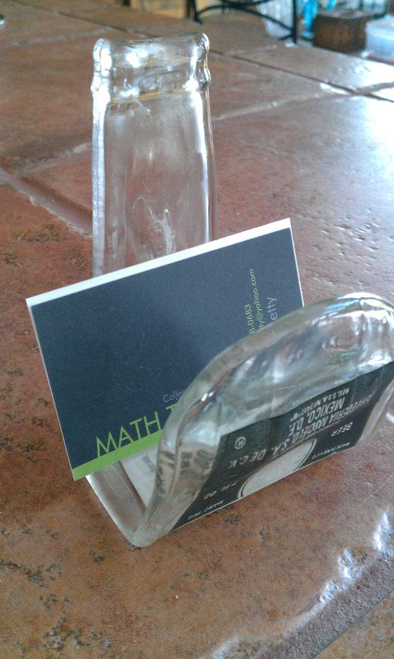 Business card holder or cell phone holder made by for Easy break glass bottles