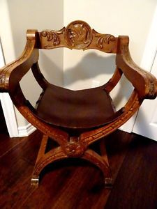 gothic CURULE BISHOP THRONE Dante Savonarola Chair CARVED WALNUT