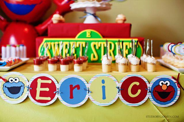 dessert tableSweets Street, Cookies Monsters, Street Birthday, Birthday Parties, Sesame Streets, 2Nd Birthday, 1St Birthdays, Desserts Tables, Birthday Ideas