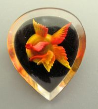 #3595 Rare Reverse Carved Lucite Goldfish Pin $95  at Lee Caplan Vintage Collection on RubyLane