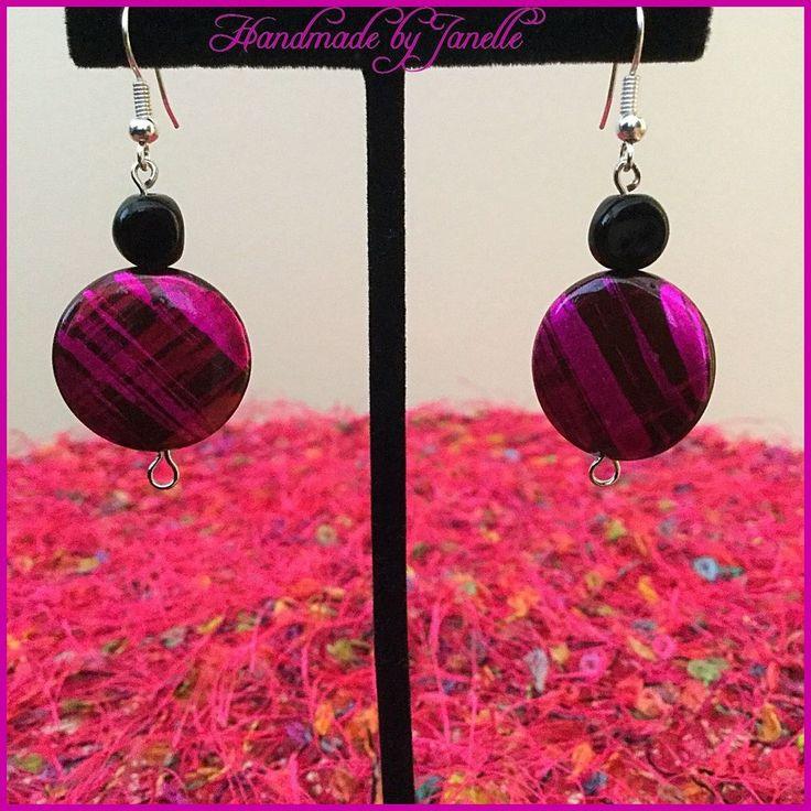 Pink & black shell earrings http://stores.ebay.com.au/Handmade-by-Janelle?_rdc=1