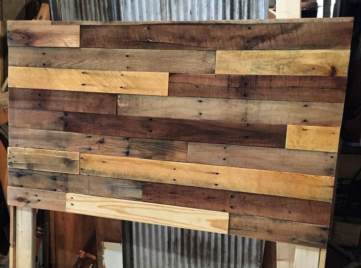 Pallet wood headboard diy wood headboard pallet wood for How to make a king size headboard out of pallets