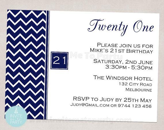 Chevron 21st Invitation / 40th Invitation / Milestone Invitation