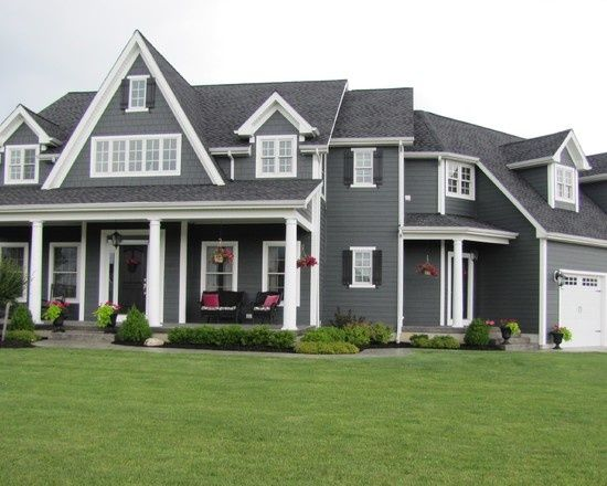 Dark Gray House With White Trim | House / Dark gray siding and white trim.