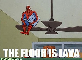 ...Floors, Lava, Funny Humor, Mornings Coffee, Spiderman, Hilarious Pictures, Spiders Man, Couch Pillows, Ceilings Fans