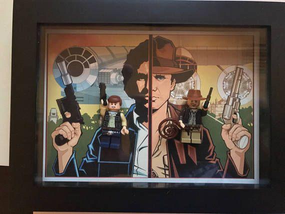 Indiana Jones custom made vs Han Solo custom  poster frame Han