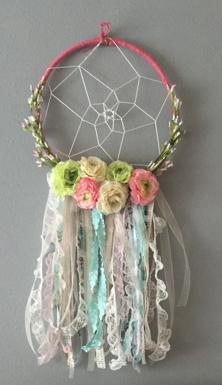 DIY floral dream catcher for little baby girls room, baby nursery