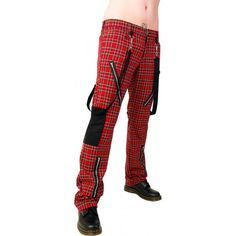 Black and red tartan punk pants by Aderlass, with removable bondage straps and zipper accents. Alternative clothing done right.