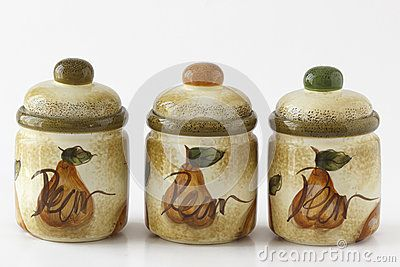 Tree artigianale porcelain containers for spices sugar salt pepper or coffee on white background