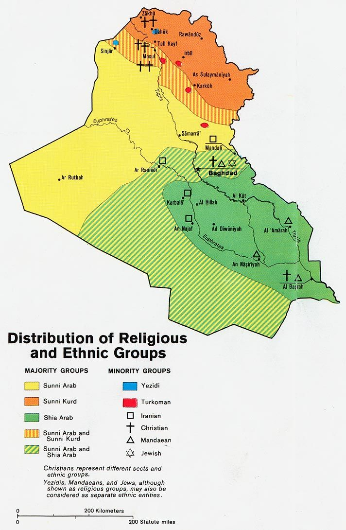 Iraq - Distribution of Religious and Ethnic Groups (1978) | Iraq in ...