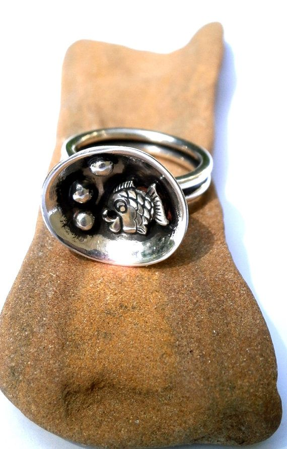 Silver fish domed ring sterling silver ring by JewelryByKonstantis