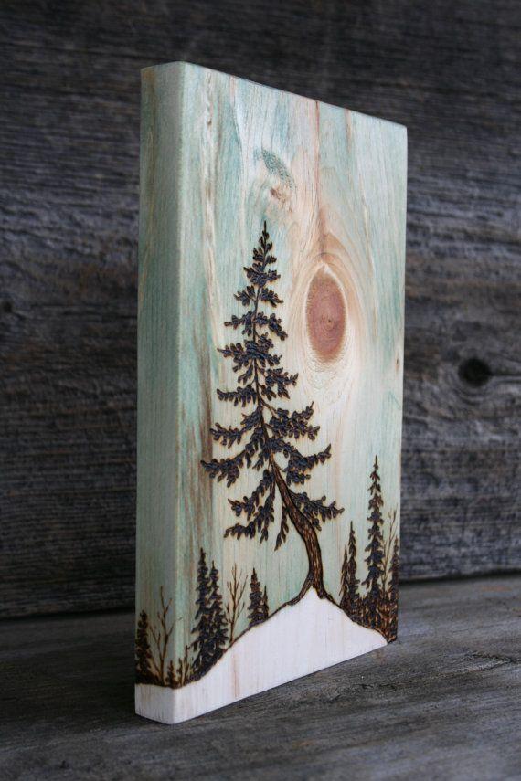 Spring Thaw Art Block Wood burning by TwigsandBlossoms on Etsy