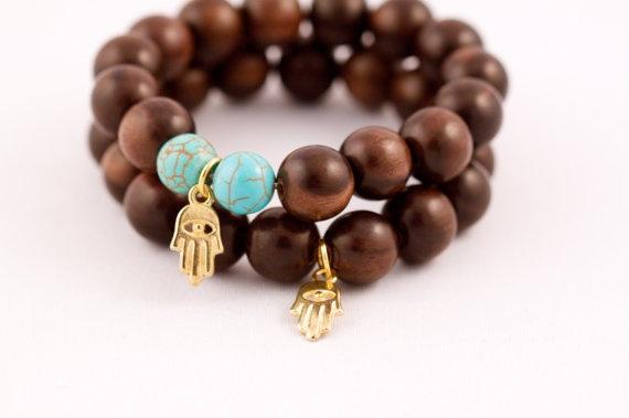 Gold Plated Hamsa Hand and Wood Mala Bracelets