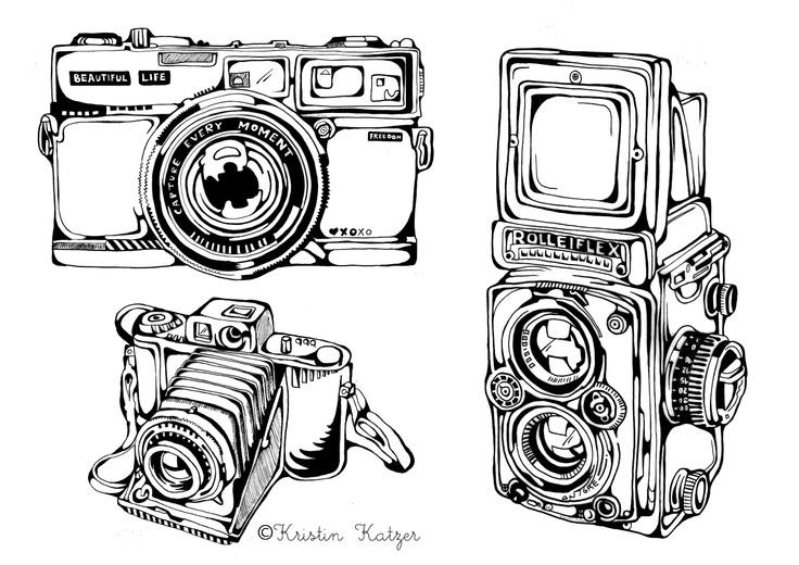 Kristinz Veritaz Design: Illustrations - Vintage Cameras