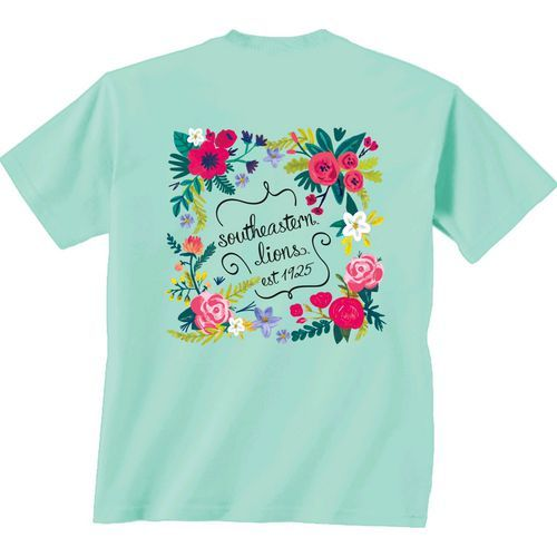 New World Graphics Women's Southeastern Louisiana University Comfort Color Circle Flowers T-shir (Blue Light 06, Size