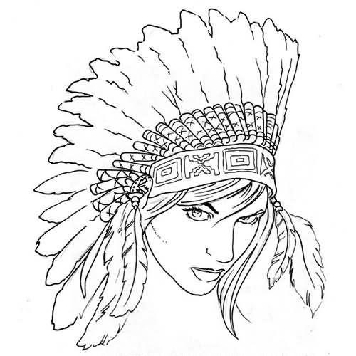Outline Indian Girl Portrait Tattoo Design Color Drawing