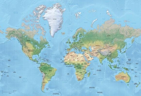 Vector map of world relief mercator by One Stop Map on Creative Market